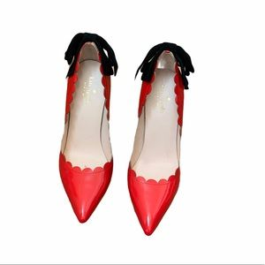 Kate Spade Patent Red Black Suede Emana Pumps